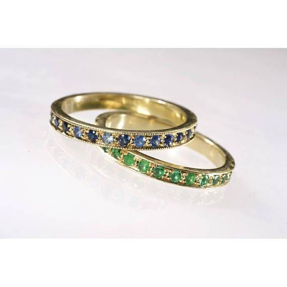 Rings gold set | Emerald band ring | Emerald eternity ring | Sapphire band ring | Sapphire eternity ring | Gemstone ring | solid 18k gold  Genuine blue sapphire eternity Band and green emerald eternity band crafted in solid 18k gold set with 24 Brilliant Round blue sapphire of a Total