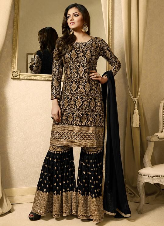aed5bbc6b5 Black and Gold Embroidered Georgette Gharara Suit - Lashkaraa ...