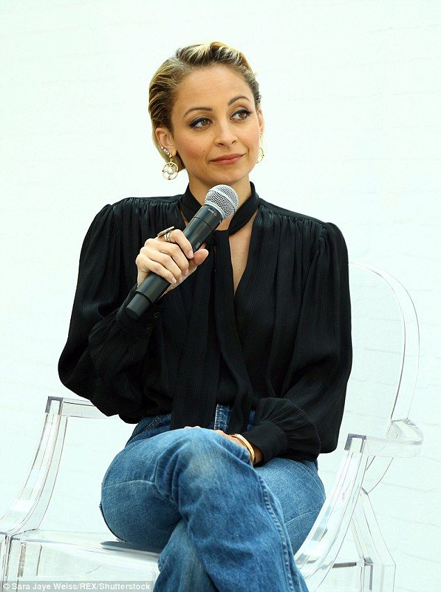 Nicole Richie wears pussybow blouse and flared jeans for fashion interview | Daily Mail Online