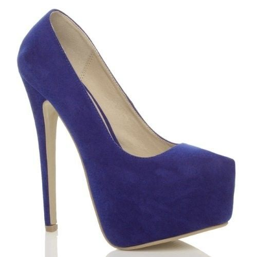 Lacivert Platform Topuklu Süet Ayakkabı