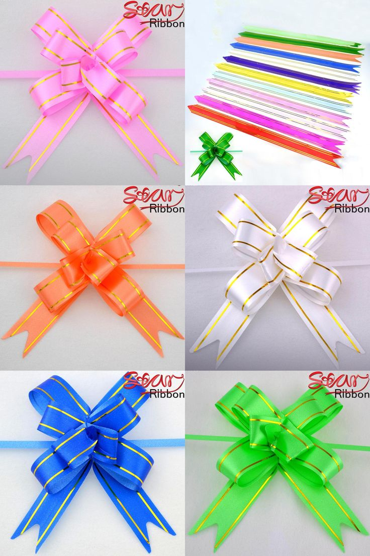 [Visit to Buy] 10 PCS Wedding Garland With Golden edge 2.3cm width Pull Bows Ribbon Hand Flower Gift Car Decoration Packing Wrap S2 #Advertisement