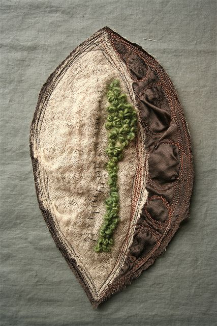 ♒ Enchanting Embroidery ♒  Tender is the Earth by Adelaide Shalhope,  Linen, wool, silk charmeuse, cotton thread. Machine and hand stitched