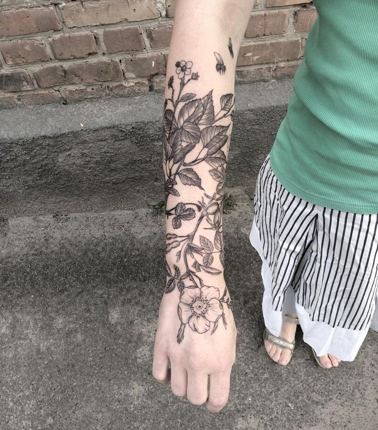 I like the placement of this one, but not going so far down onto my hand, and the flowers are a little smaller scale-wise than what I would like.