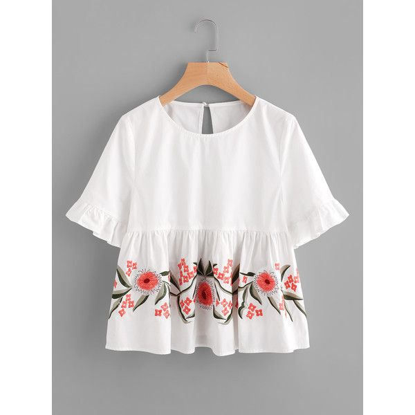 SheIn(sheinside) Trumpet Sleeve Flower Embroidered Smock Top (520 UYU) ❤ liked on Polyvore featuring tops, white, elbow length tops, embellished top, white button top, embellished collar top and sleeve top
