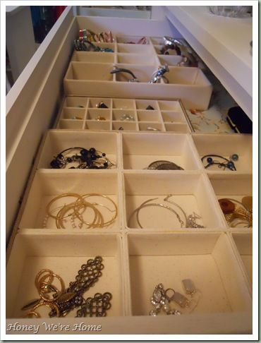 """Jewelry Storage Solutions: """"The top drawer of my dresser houses smaller accessories, like rings and bracelets.  They are arranged by color in these compartment dividers from Bed, Bath, & Beyond."""""""