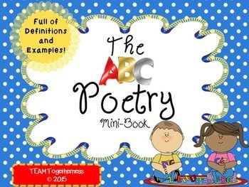 Teaching a poetry unit? We used this helpful tool as a supplement to our reader's and writer's workshop poetry unit. This mini-book contains 60 poetic definitions and examples that are appropriate for 4th-6th graders! It comes with two different versions:-One that can be printed, cut apart, and then stapled-Another that can be printed back to back, then folded.If you like this, be sure to check out our Reader's & Writer's Workshop Poetry Unit!Don't forget to check out our blog…