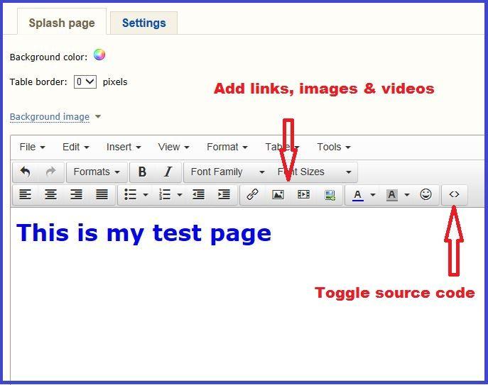 Easy hits 4u custom splash - screenshot showing what the free website builder looks like.  Read my review http://setupawebsiteforfree.com/easy-hits-4u-free-web-page-builder-review