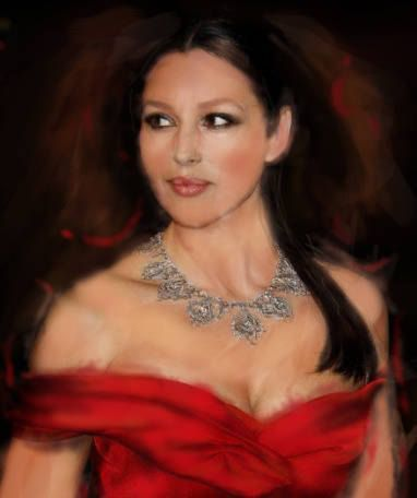 Monica Bellucci Custom Oil Portrait from your Photo Hand
