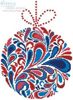 Colourful Christmas Bauble 1 - cross stitch pattern designed by Tereena Clarke. Category: Ornaments.