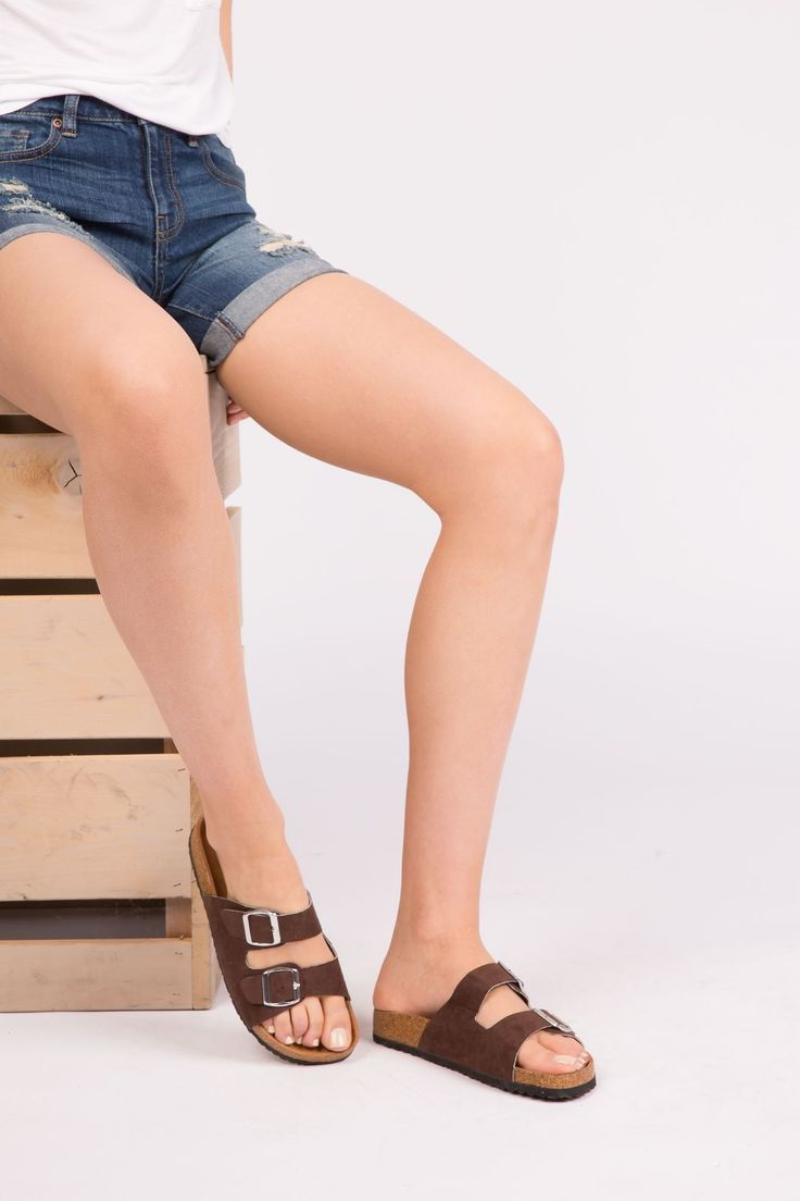 Girls Buckled Faux Suede Slide Sandals