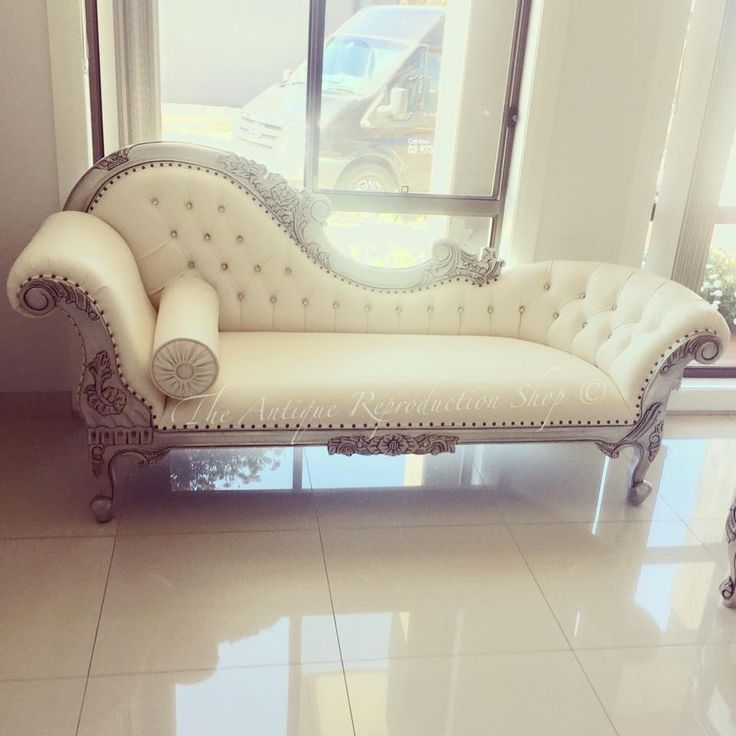 Neutral colour furniture. Silver finish. Luxury chaise lounge.