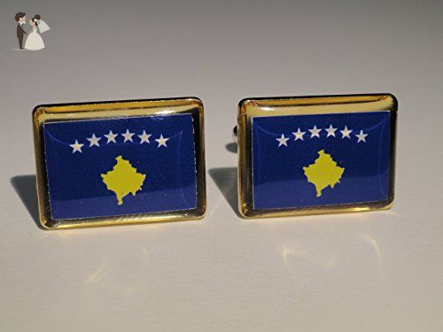Kosovo Flag Cufflinks - Groom cufflinks and tie clips (*Amazon Partner-Link)