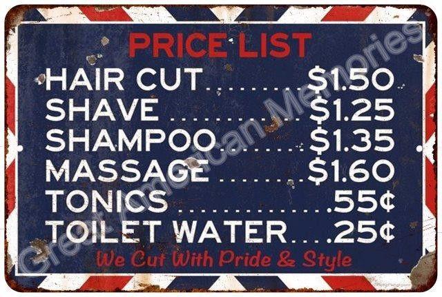Haircut Price List Barbershop Vintage Look Reproduction 8x12 Metal Sign 8124142
