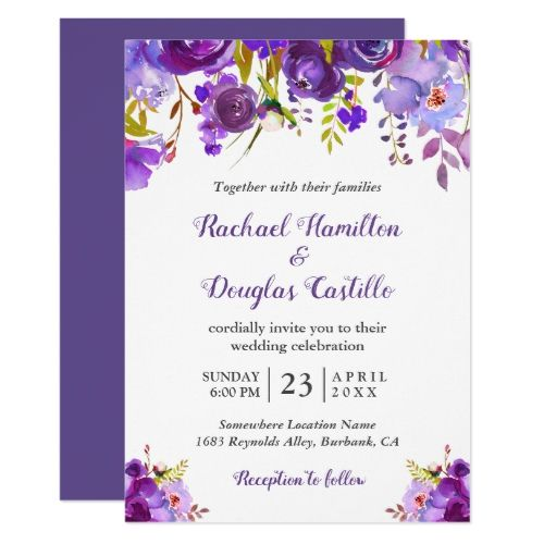 0615467cc007 Ultra Violet Purple Watercolor Floral Wedding Invitation