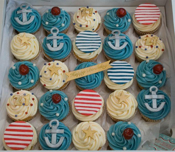 #2 Nautical cupcakes, anchors and starfish: Cupcakes Ideas, Theme Cupcakes, Anchors Cupcakes, 21St Birthday Cupcakes, Nautical Cupcakes, Cups Cakes, Anchor Cupcakes, Sailors Theme, Baby Shower