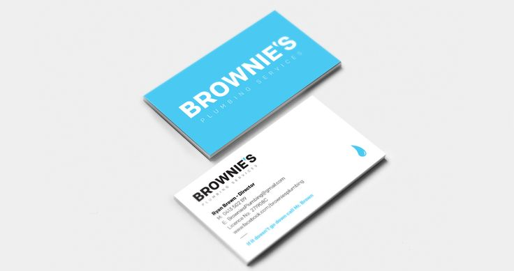 Business Card and Logo design  Brownie's Plumbing Services were in need of a new logo and business card design to help bring their visual identity to the next level.  The logo and business card design needed to be professional & clean. This was achieved using a strong typeface and also bringing relevance to the profession using a water drop for the comma.  #LogoDesign #BusinessCardDesign #BusinessCards #PlumbersBusinessCards #GraphicDesign #BusinessCardPrinting #EmoceanStudios