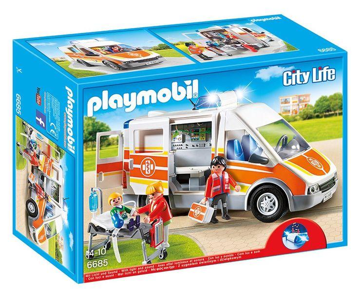 Playmobil - 6685 - Ambulance avec gyrophare et sirène: Amazon.fr: Jeux et Jouets