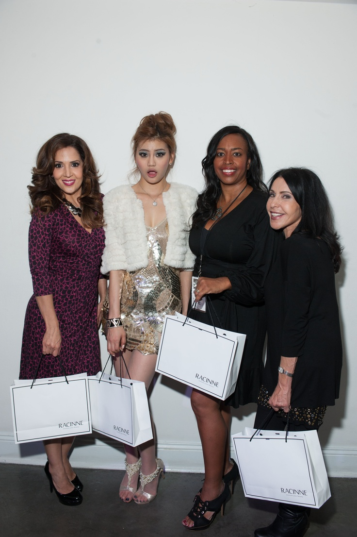 Maria-Canals Barrera, Andamiro, Dale and Cindy getting to know eachother behind the scenes at Racinne's International North American Launch event in Hollywood CA. Nov. 15, 2012  Boulevard 3.