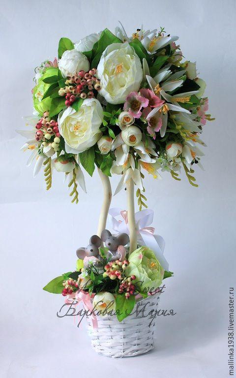 """Купить Топиарий, дерево счастья """"Влюбленные"""" - салатовый, топиарий, топиарий дерево счастья"""