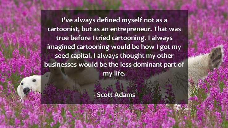 I've always defined myself not as a cartoonist, but as an entrepreneur. That was true before I tried cartooning. I always imagined cartooning would be how I got my seed capital. I always thought my other businesses would be the less dominant part of my life.      #Life #LifeQuotes #quote #quotes