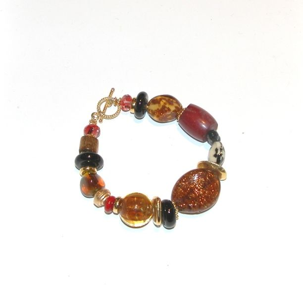 Murano Glass Bracelet Brown/gold