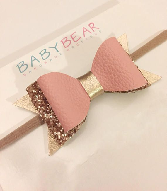 Pink and Gold Bow Leather Bow Glitter Bow Hair Bow Baby