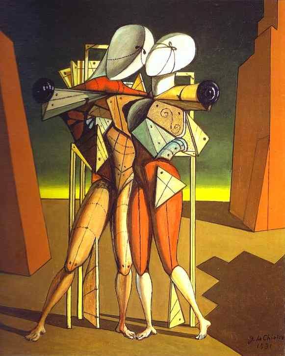 Giorgio de Chirico >> Hector and Andromache | (Oil, artwork, reproduction, copy, painting).