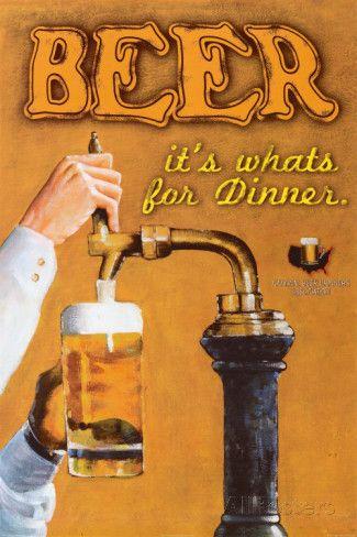 Cerveja: é o que há para jantar, em inglês Posters por Robert Downs na AllPosters.com.br