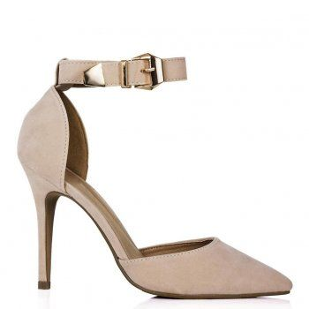 SANDY Stiletto Heel Pointed Toe Court Shoes - Cream Suede Style