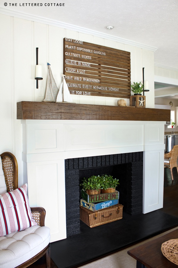 Fresh and clean for the summer.  I love the basket/bottle holder combo in the fireplace, gets rid of that black hole feeling.