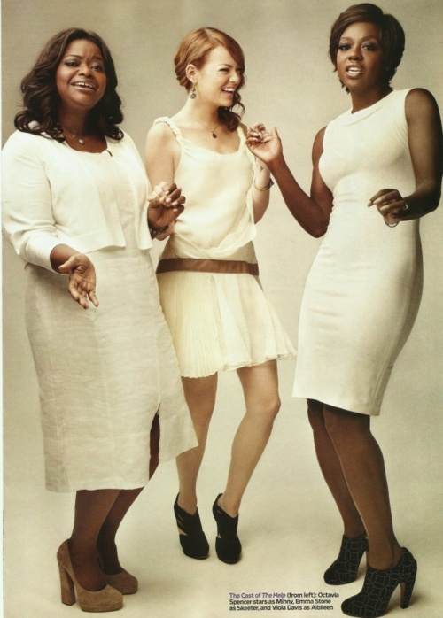 Octavia Spencer, Emma Stone, and Viola Davis promoting The Help