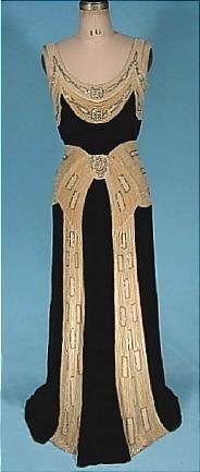 c. 1930's NEMSER ORIGINAL MODEL Black Silk Velvet Gown with Rhinestone and Beaded Ecru Velvet Trim