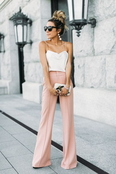 Alice + Olivia Rose Tan Dawn Flare Pants Teamed With Slik Slip Tank Top And Insect Embroidered Clutch Tumblr Party Outfit Ideas