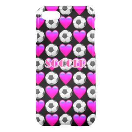 #girly - #Pink Soccer Emoji iPhone 7 Clearly Deflector Case