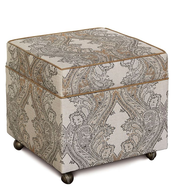 Aiden Oat Storage Ottoman Lodge Style Paisley Country Home