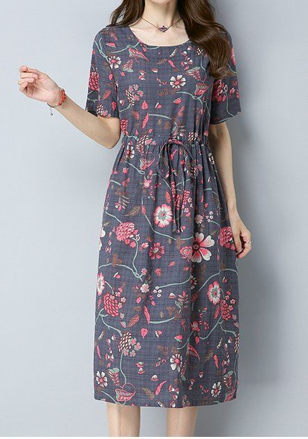 Details about Women loose fit over plus size retro flower skater maxi dress tunic chic fashion