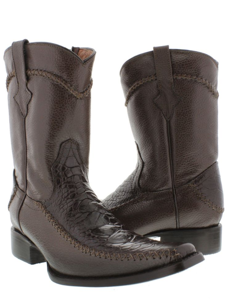 MEN'S BROWN ROCKERZ SEA TURTLE EXOTIC LEATHER WESTERN COWBOY BOOTS SQUARE  TOE // #sea