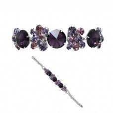 Purple mix diamante crystal sparkly prom bracelet