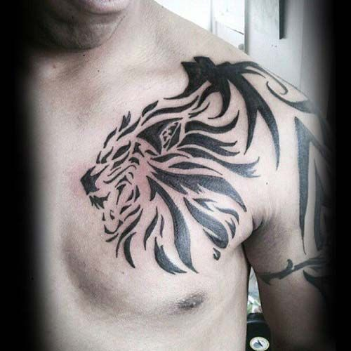man chest tribal lion tattoo erkek göğüs tribal aslan dövmesi