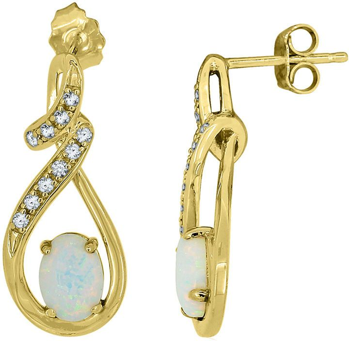 FINE JEWELRY Lab-Created Opal & Lab-Created White Sapphire 14K Yellow Gold Over Silver Infinity Earrings