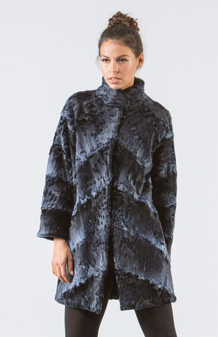 Midnight Blue Astrakhan Fur Jacket .100% Real Fur Coats