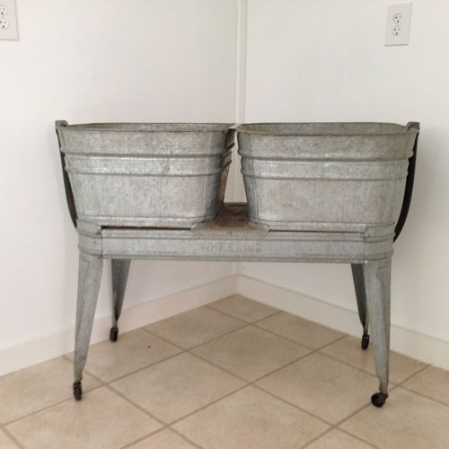 Double Wash Tub With Stand : Wheeling Galvanized Double Wash Tub: Farms Laundry Pantry, Wash Tubs ...