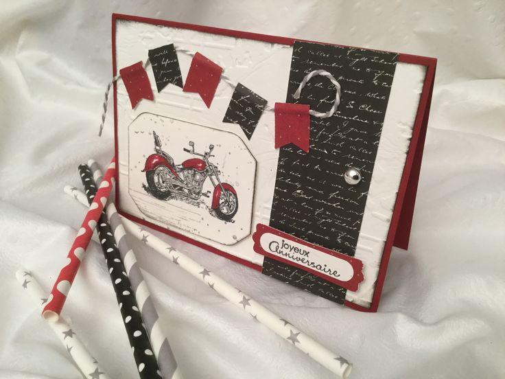Carte double rouge, Vœux d'anniversaire, décor moto rouge, petits fanions : Cartes par damejo