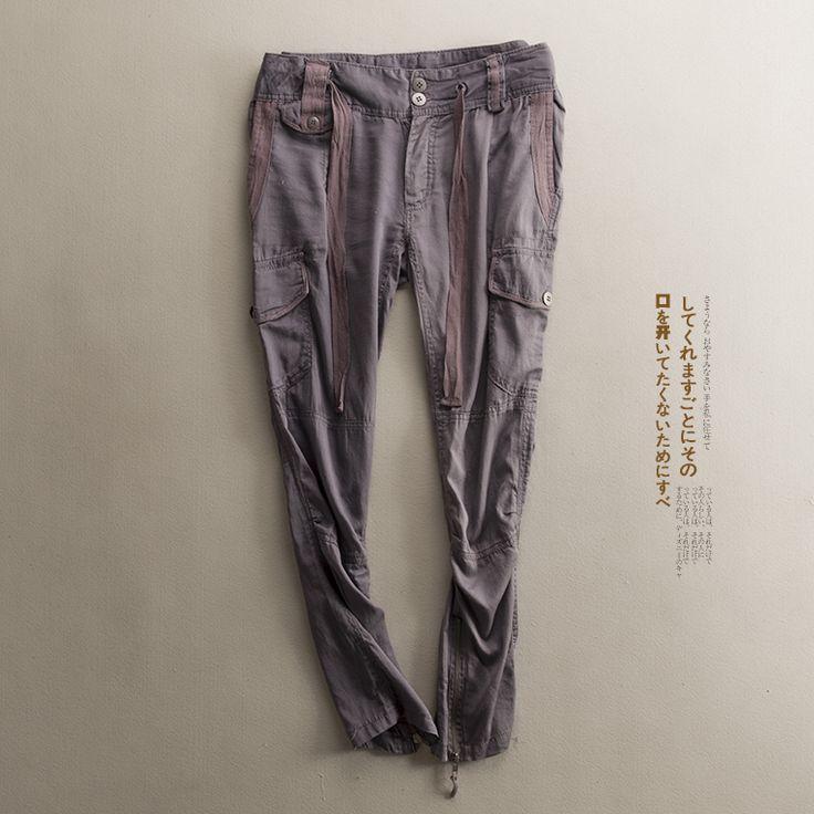EVER лета новые мужские и женские модели пару удобный хлопок шнурок военный мульти-карманные случайные платье брюки ноги Taobao M10-13-