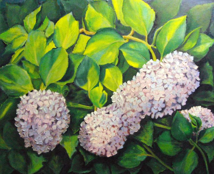 HORTENSIA AZULE (2007) OIL ON BOARD 66 X 54 By Maite Rodriguez www.maiterodriguez.es