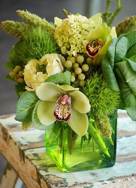 Gorgeous Green Flower Arrangement <3 Dallas Florist: Cebolla Fine Flowers Store
