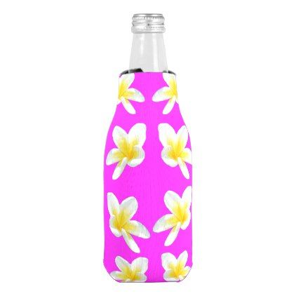 Yellow Frangipanis On Pink Bottle Cooler - pink gifts style ideas cyo unique