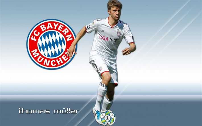 Download wallpapers Thomas Muller, FC Bayern Munchen, German footballer, art, Bundesliga, Germany, football