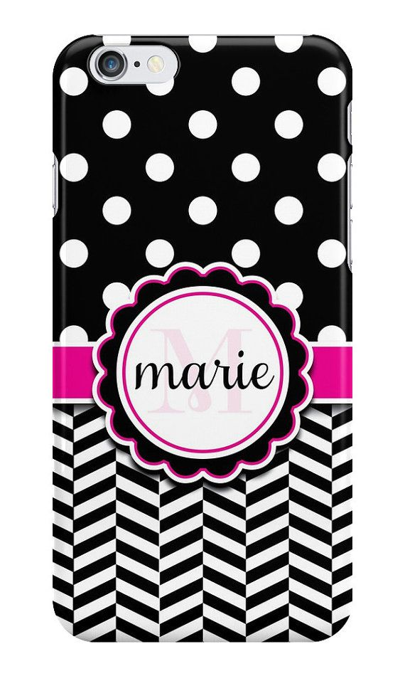 Personalized Polka Dots & Chevron iPhone or Samsung Galaxy Case, Black Phone Case, Polka Dots Phone Case, Chevron Phone Case