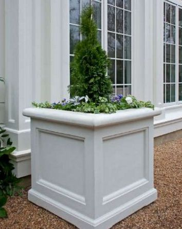 Concrete Eastover Planter Available in Grey or White Cast Concrete Sealed to Protect Against Weatherization